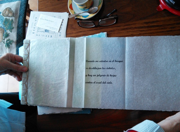 Innovative stitching and folding show in this example of Carmen's artist's books.