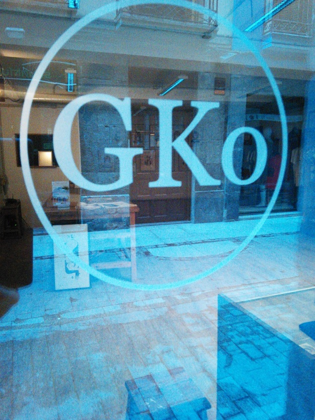 Looking into the GKo Gallery window.