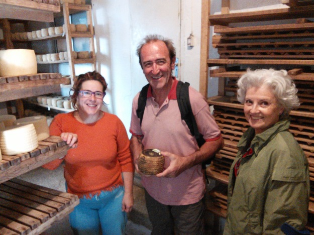 Isobel, Juan and Carmen at the cheese shop in La Barcina de los Montes.