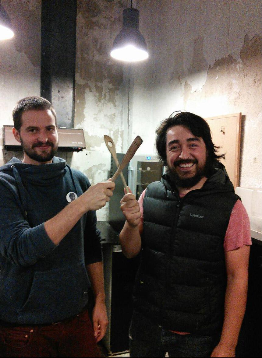 The amazing Xabi & Garikoitz in the kitchen at Boxa Arte Elkarte studios.