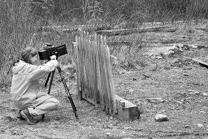 Kathy Kinakin taking large format photographs, Stanley, BC, 2008.