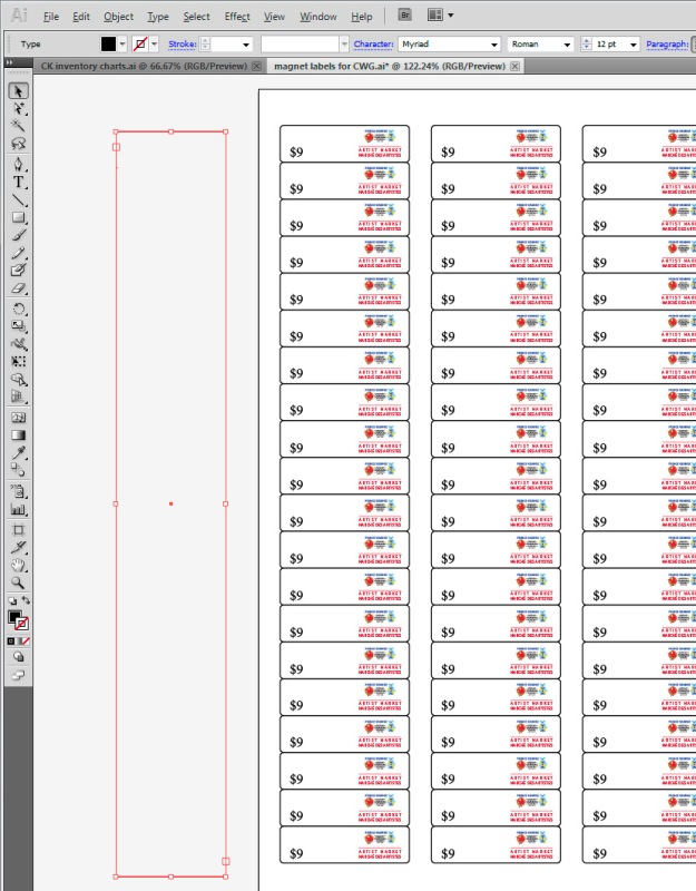 Creating a text box in Illustrator that is roughly the same height as an existing column of labels.