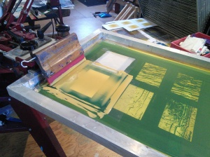 Printing warm gradients for the cedar bark prints on paper.